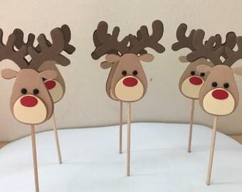 Reindeer Cupcake Toppers, Christmas Cupcake Toppers, christmas decor