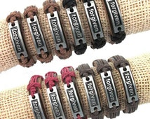 Forgiven Pray Hard I love Jesus Leather Bracelets/Church/Love is the Key/Mens Accessories/Boys Accessories/