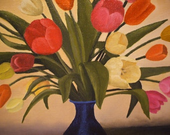 Original oil painting on canvas of Tulipr