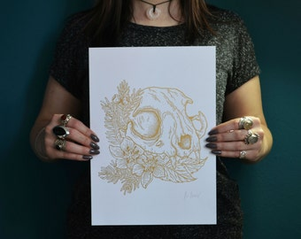 Art Print Cat Skull