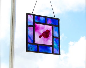 Bird Stained Glass - Window panel - Suncatcher - Handpainted glass - Red bird - Colorful - Handmade - Unique
