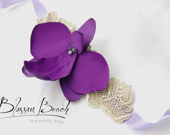 Violet orchid wrist corsage/cuff;bridesmaid wrist corsage;prom wrist corsage/cuff