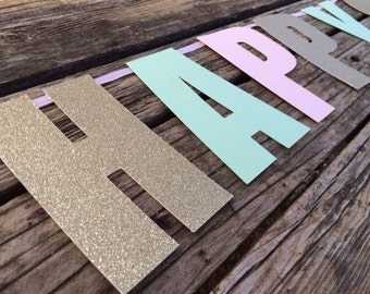 Happy Birthday Banner - Gold and Pink Baby Shower, Gold and Pink Party, First Birthday, Photo Prop