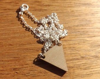Wooden triangle necklaces.