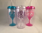 Personalized Wine Cup, Monogram Cup, Personalized Gift, Monogram Gift, Beach Cup, Bachelorette, Spring Break, Travel Cup, Wine Glass Cup