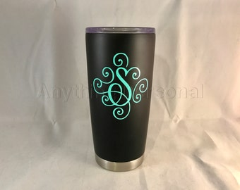 Personalized Stainless Steel Cup, Initial Stainless Steel Tumbler, Initial Cup, Monogram Gift, Beach Cup, Initial Tumbler, Cold Steel Cup