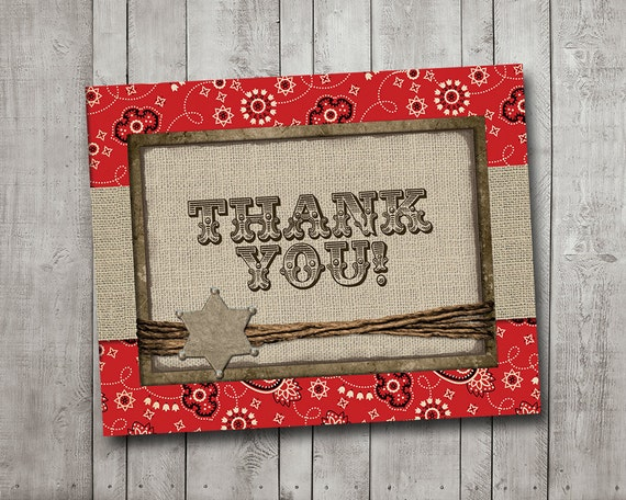 Boy Baby Shower Thank You Card Cowboy Western Sheriff Burlap