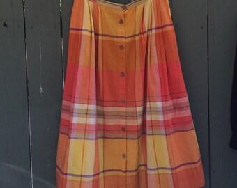 Vintage Calvin Klein Sport yellow and orange plaid skirt!