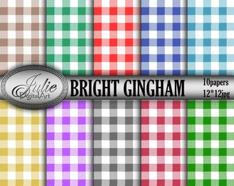 """Gingham digital paper:""""Bright gingham"""" red,teal,navy,green,brown,mustard gingham / picnick table cloth/checkered paper, Instant Download"""