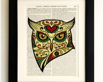 ART PRINT on old antique book page - Sugar Skull Yellow Owl, Vintage Upcycled Wall Art Print, Encyclopaedia Dictionary Page, Fab Gift!