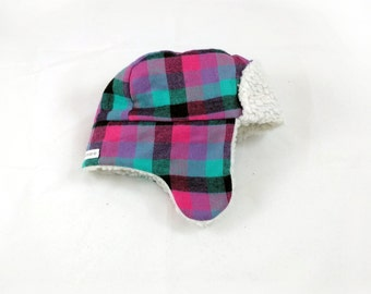 Baby & Toddler Trapper Hat - Faux Fur Plaid Trapper Hat - Fur Bomber Hat - Aviator Hat - Lumberjack Hat - First Birthday Gift - Plaid Hat
