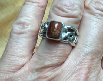 Boho chic sterling and Goldstone ring