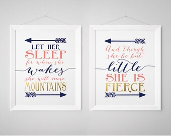 Though she be but little Nursery Prints - Shakespeare, Let her sleep, Print, Wall Art, Navy, Gold, Coral (1002-2S)