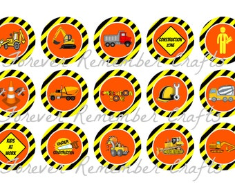 INSTANT DOWNLOAD Two Customized Construction Birthday Party Bottle Cap Image Sheets *Digital Image* 4x6 Sheet With 15 Images