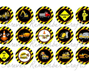 INSTANT DOWNLOADTwo Customized Construction Bottle Cap Image Sheets *Digital Image* 4x6 Sheet With 15 Images