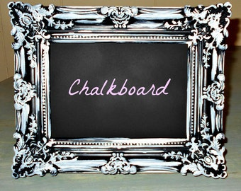 "Chalkboard Ornate Framed Black/White Shabby Chic Wall Decor {Wedding/Memo/Menu} 9.75"" x 7.75"""