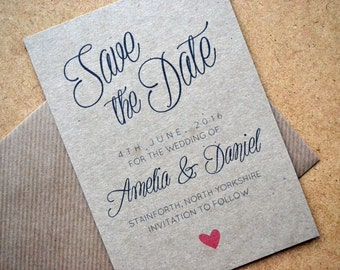 SAMPLE ONLY - Save the Date - Calligraphy Script Smooth Recylced Brown Kraft A6 Personalised Black & Red Heart including C6 Kraft Envelope