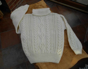 Cream Aran Ladies Roll / Polo Neck Hand Knit Sweater / jumper / pullover