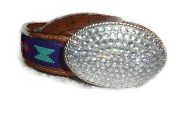 vintage Circle Y TEXAS leather Rhinestone oval SOUTHWESTERN silvertone gypsy hippie boho belt women size SMALL
