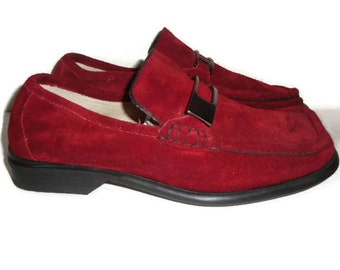 vintage made in Italy KENNETH COLE cranberry RED velvet suede leather loafers indie boho  men 7 1/2 women 9 1/2 us 41