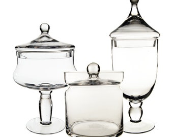 Apothecary Jar Glass Candy Buffet Jar Set of 3 pcs #GAJ113120121-15