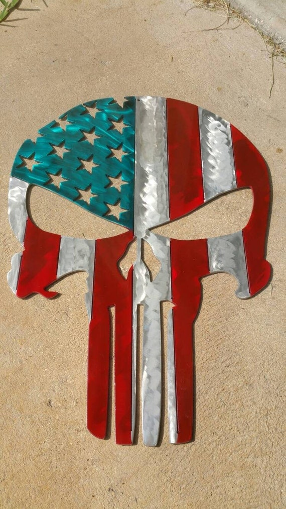 Aluminum, Airbrushed Punisher Skull, American Flag, 4th of July, Independence Day, The Punisher, American Flag Wall Art, Man Cave Decor