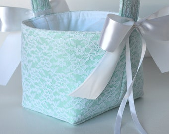 Lace flower girl basket, custom made in your color choices, shown in white and ice frappe- mint blue green