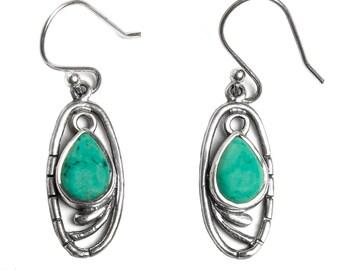 Green Stone Earrings, Silver Turquoise Earrings, Turquoise Dangle Earrings, Party Earrings, Statement Earrings