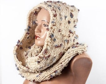 Ready to Ship - Hooded Scarf, Long Scarf, Chunky hooded scarf, Hooded long scarf, Scoodie Scarf by LoveKnittings