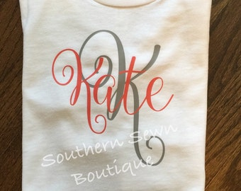 Toddler Short Sleeve Initial & Name T-Shirt