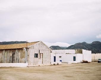 Spain. Old House, Clouds. Blue Sand. Fine Art Photography, Wall Decor, Large Print, Cabin, Cabin Decor, Landscape Print