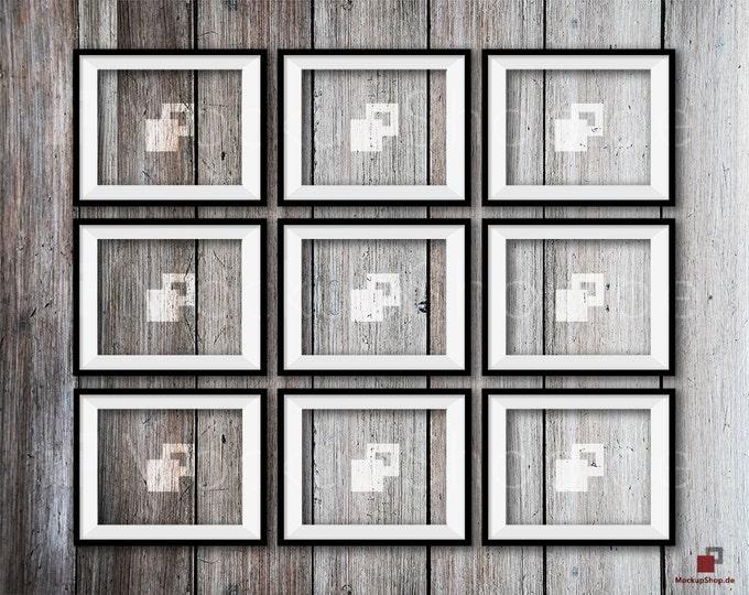 """8x10"""" FRAME MOCKUP, 9x VERTICAL Black Mockup, Photo Mockup Frame, Vertical Frame Mockup in Black, digital download, Black Frame Mockup Frame"""