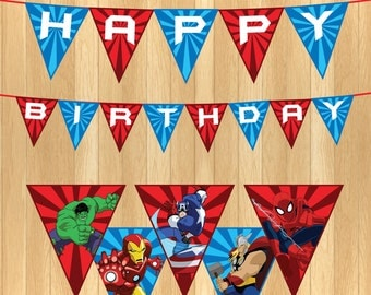 INSTANT DOWNLOAD - Avengers Party Banner