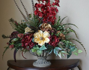 Large Tuscan Red Cream Brown Centerpiece Floral Dining Table Arrangement