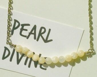 Honey quartz yellow beaded necklace