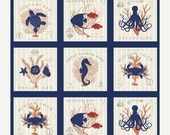20% Off Hidden Cove, Nautical Fabric from Windham Fabrics by Sue Schlabach.  Seahorse, Turtles, Octopus, Fish and Coral; Gorgeous!