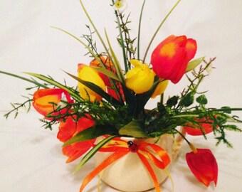 Flower Arrangement Mug, Centerpiece - Spring in a Cup