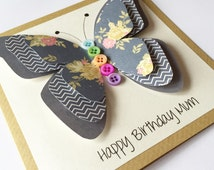 Mum Birthday Card - Birthday Card for Sister - Butterfly Card - Handmade Birthday Card-Personalised Birthday - Paper Handmade Greetings Card