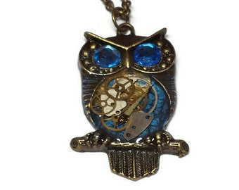Midnight Blue Steampunk Owl -  Abstract Painted Horned Owl Pendant Necklace
