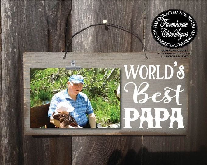 papa, gift for papa, papa gift, world's best papa, papa picture frame, Father's Day gift, Christmas gift for papa, papa sign, papa, 216