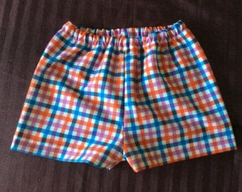 Multi color Plaid Baby Girls Summer Shorts