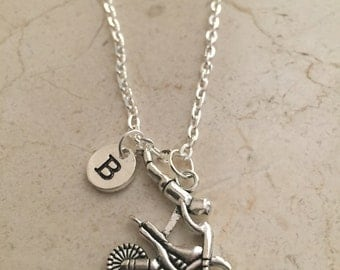 Dirt bike initial necklace, dirt bike jewelry, motocross necklace, off road jewelry, silver dirt bike necklace, motocross jewelry