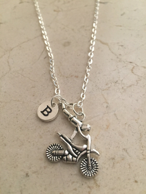 dirt bike initial necklace dirt bike jewelry motocross