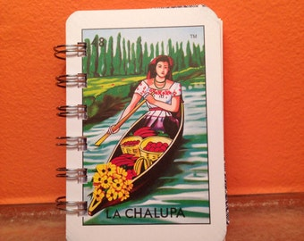 Upcycled Mexican Loteria Card Notebook - La Chalupa/El Sol