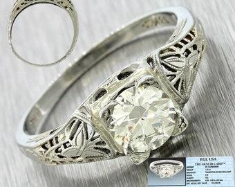 1940s Art Deco 18k White Gold 1.01ct Round Cut Diamond Filigree Engagement Ring