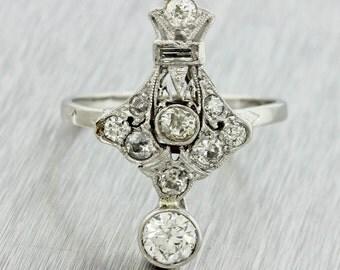 1920s Antique Art Deco Estate Women's Platinum 1.10ctw H-I SI1-2 Diamond Ring
