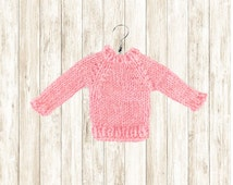 Ugly Sweater Ornament // Miniature Sweaters // Pink Hand Knit Mini Wool Sweater // Tiny Doll Dollhouse // Sweater Party Gift // Ornaments