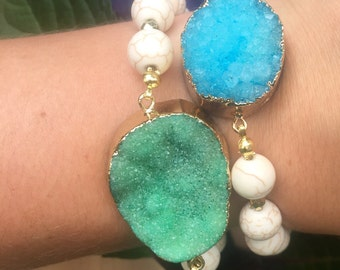 Blue and Green Druzy Bracelet