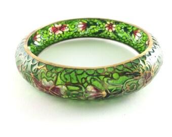 Plique a Jour Cloisonné Chinese Bangle Bracelet Art Nouveau