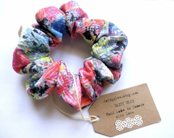 Textured colourful scrunchie, fashionable hair scrunchy, multi colour tie dye scrunchies, full large scrunchie, psychedelic scrunchie, hair